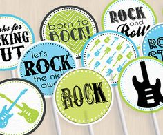 ROCK+GUITAR+Birthday+Party+Circles+&+Cupcake+by+PrintasticDesign,+$5.00