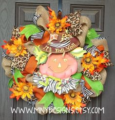 Fall/Thanksgiving Indoor/Outdoor Burlap Wreath by MNYDesigns, $110.00