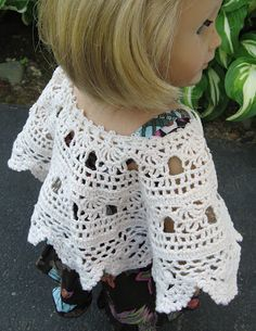 A Doll for all Seasons  cape from a old lace doylie