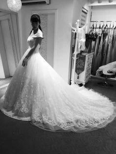 Off shoulder lace gown