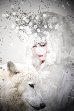 white and wolf Wolf Spirit, Spirit Animal, Fantasy Wolf, Fantasy Art, Timberwolf, Wolves And Women, Wolf Stuff, Wolf Love, Wolf Pictures