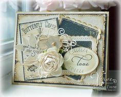 shabby chic card love the sewing and layering