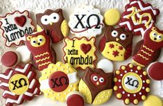 Chi Omega owl cookies