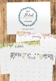 """This clean and simple """"Floral"""" monthly calendar is perfect for the 2017 year. January 2017 - December 2017. These files are uneditable. Each month includes U.S. $7"""