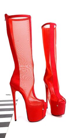 Red Transparent Mid Calf Heel Boots Cream High Heels, Patent High Heels, White High Heels, Lace Up High Heels, High Heels Stilettos, Red Knee High Boots, High Heel Boots, Over The Knee Boots, Heeled Boots