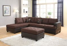 Ellus Brown Fabric and Faux Leather 3 Piece Reversible Sectional Sofa. You work hard, so you deserve a sofa that works hard to keep you comfy.#Brown #Sofa #Sectional #Chocolate #Ottoman #Roundhill Furniture #Living Room #Couch – Furnituremaxx