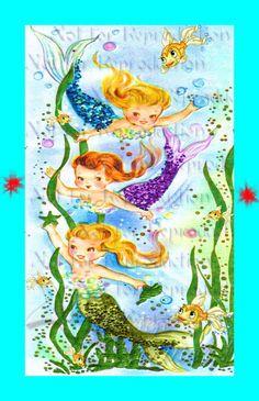 s443 Cute BABY MERMAIDS Quilting Fabric by wwwvintagemermaidcom ... : mermaid quilt fabric - Adamdwight.com