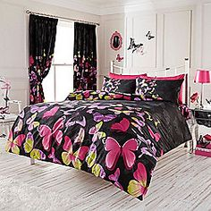 Fashion Butterfly Double Duvet Cover and Pillowcase Set - Black and Pink