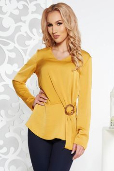 StarShinerS mustard elegant flared women`s blouse from satin fabric texture long sleeved, easy cut, long sleeves, nonelastic fabric, satin fabric texture