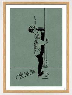 Werk: Frank (42) Yogalehrer.  Größe: 50x70 cm Herstellung: Acryl auf strukturiertem Papier.