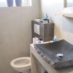 Salle de bain badkamer beton cire twee kleuren for Beton cire salle de bain