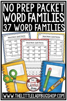 You will love this No Prep Word Families Activities Packet. There are 37 Word Families, over 400 words for your students. It is perfect for growth in word work, spelling, or Vocabulary programs. Easily fits in Literacy Centers, small group, warm-ups, or homework activities! Perfect for 1st grade, 2nd grade and home school. #wordfamilyworksheets #wordfamilyactivities
