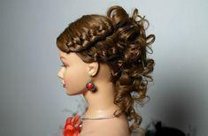 Hairstyle for medium long hair. Прическа с плетением на средние и длинны...