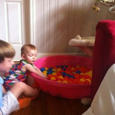Fun toddler inside entertainment  idea for an insanely HOT summer day!  Balls in pool