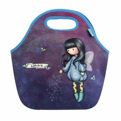 Gorjuss Snack Box with Bubble Fairy Design Made from durable neoprene for comfortable carrying with handles It has a zip closure where you can store the food you need. Santoro London, Neoprene Lunch Bag, First Girl, Blue Bags, Rose Buds, Lunch Box, Snack Box, Bubbles, Fairy