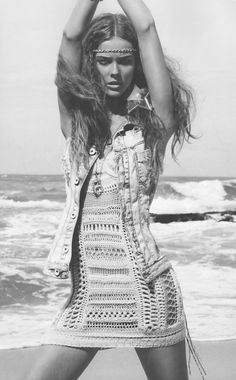 denim vest hippie style - just add a headband and crochet.