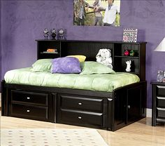 Chelsea Twin Bed with Bookcase and Storage in Black Cherry $979