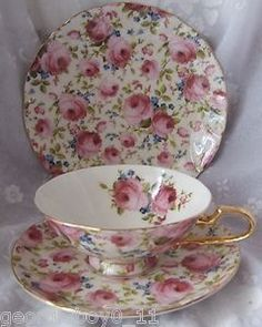 Pink Rose Porcelain CUP Saucer Plate Trio ~ very pretty! Tea Cup Set, My Cup Of Tea, Tea Cup Saucer, Tea Sets, China Cups And Saucers, China Tea Cups, Teapots And Cups, Motifs Roses, Café Chocolate