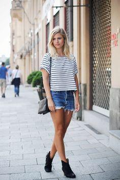 stripes, cutoffs, booties, undone hair