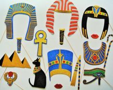 Egyptian King Tut Photo Booth Props walk like a Egyptian Party Photo booth Tutankhamen Museam Photo Booth Egypt scarab cat Pyramids - Egyptian King Tut Photo Booth Props à pied comme un chat Egyptian Themed Party, Photo Booth Party Props, Photo Booths, Photo Props, Egyptian Crafts, Tracing Art, Egyptian Kings, Kids Birthday Themes, World Thinking Day