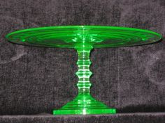depression glass cake stand