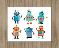 Robot Art   Instant Download art  Nursery by TracyAnnPrintables, $5.00