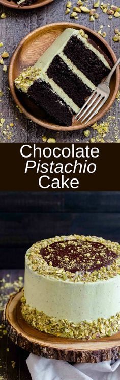 This layered Chocolate Pistachio Cake will turn heads! Rich decadent chocolate cake slathered in light, creamy pistachio frosting. via @introvertbaker