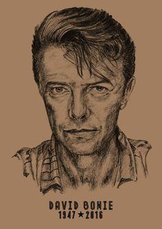 David Bowie: A3 -Print - Hand Drawn Portrait signed by Artist - (Black on Sepia Card or Sepia on Cartridge Paper) #Art #Portrait #DavisBowie #PencilPortrait #HandDrawnPortrait #CommissionedArt #BillTaylorBeales #icons #Drawn #Portrait