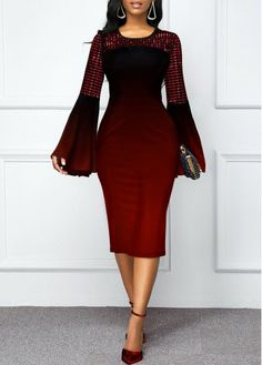 Ombre Flare Sleeve Round Neck Dress – Diet and Slimming Elegant Dresses, Sexy Dresses, Dresses For Sale, Casual Dresses, Dresses For Work, Formal Dresses, Wedding Dresses, Flowy Dresses, Dress Sale