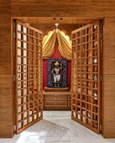 Traditional & Modern Pooja Room / Mandir Designs - dress your home Pooja Room Door Design, Home Room Design, House Design, Temple Room, Home Temple, Interior Design Minimalist, Door Design Interior, Design Interiors, Modern Minimalist