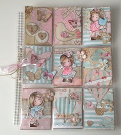 "Pocket Letters ""Pink & Blue"" @SandraRietveld Copic, Pocket Pal, Pocket Cards, Atc Cards, Journal Cards, Pocket Scrapbooking, Scrapbook Pages, Round Robin, Shabby"