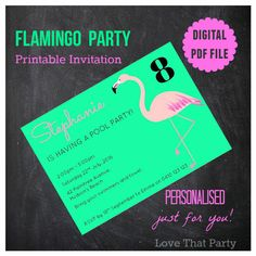 FLAMINGO POOL Party INVITATION, Printable, Personalized, Pink Flamingo, Girl Invitation, Flamingo Party, Flamingo Birthday, Green, Diy Print by LoveThatPartyInvites on Etsy