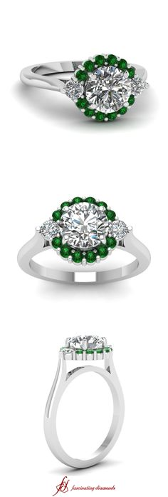 Circular Florid Ring ||  Round Cut Diamond Halo Ring With Green Emerald In 950 Platinum
