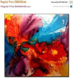 Original grand abstrait peinture contemporaine Art coloré