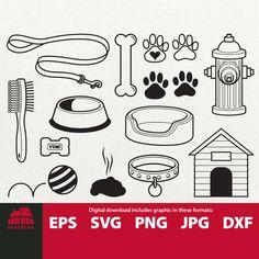 Scrapbook Paper Organization, Dog Clip Art, Scrapbook Embellishments, Dog Tattoos, Collar And Leash, Dog Paws, Dog Houses, Dog Bed, Clipart