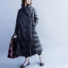 Black Loose Long Down Coat Women Winter Warm Jacket FantasyLinen Winter Coats Women, Coats For Women, Clothes For Women, Casual Dresses For Women, Casual Outfits, Casual Clothes, Long Down Coat, Long Sweater Dress, Blazer