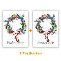 2 edle Weihnachts Postkarten mit Weihnachtskranz und Hirschen