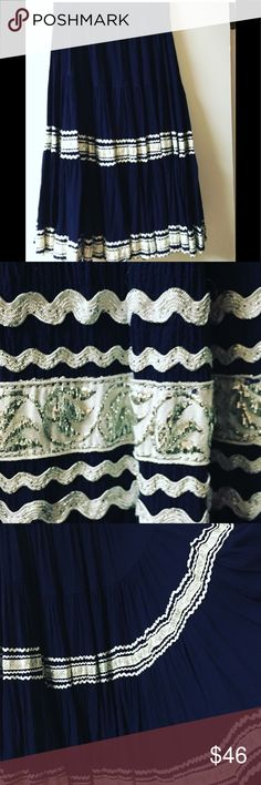 Vintage bohemian skirt Absolutely stunning, tailor-made, bohemian skirt. 26 inch waist. Navy with white details Vintage Skirts Midi