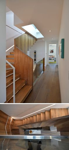 These modern wood stairs with a skylight have a small light built into the wall that runs the length of the stairs to provide light when it's dark outside. Stair Lighting, Lighting Design, Modern Skylights, New Modern House, Cabinets And Countertops, Light Building, Wood Stairs, Modern Staircase, Dining Nook