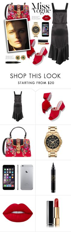 """Alicia"" by nadialesa ❤ liked on Polyvore featuring Givenchy, Steve Madden, Gucci, Michael Kors, MAC Cosmetics, Lime Crime, Chanel, La Perla, mules and satin"