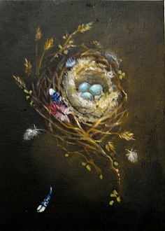 Feathered Nest painting blue jay cardinal feathers and by 4WitsEnd. , via Etsy. SOLD