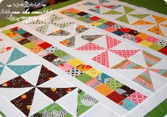 pinwheel and postage stamp quilt