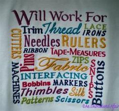 Will Work for... Sewing Notion Words