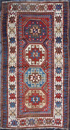 F1500 Antique Caucasian Kazak Carpet