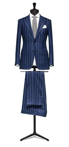 Blue suit Chalkstripe S100 http://www.tailormadelondon.com/shop/tailored-suit-fabric-4327-stripe-blue/