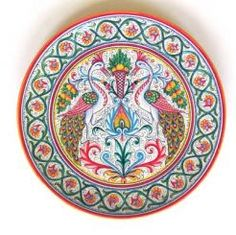 """DECORATIVE DISK: PEACOCK-3: 14"""" (36cm) Diameter.    This Disk is Drilled for Hanging.    This Piece is hand painted in Deruta."""