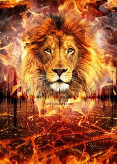 LIon of Judah glowing in fire, Dyed4you Art » Listen to the Sound