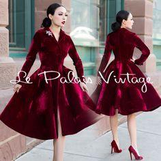Le-Palais-Vintage-Classic-Elegant-Deep-Red-Velvet-Long-Coat-Designed-by-Winny