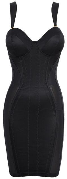 'Mistress' Black Satin  Mesh Corset Pencil Dress by Celeb Boutique. HOT!!