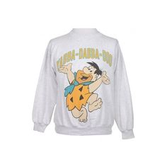 Light Grey Fred Flintstone Sweatshirt - Vintage clothing from Rokit - found on Polyvore